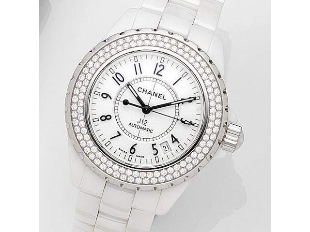 Chanel. A ceramic and diamond set automatic calendar bracelet watch J12, Case No.I.S.37218, Circa 2009