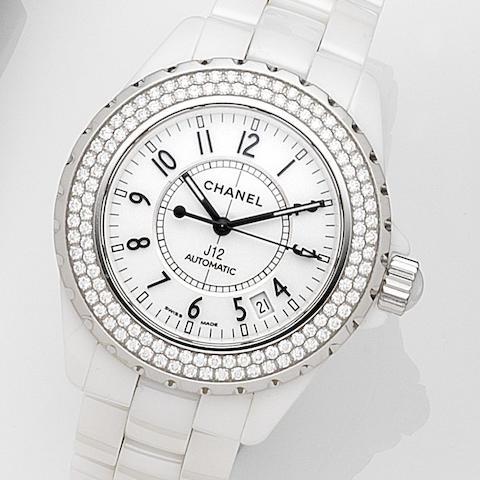 Chanel. A ceramic and diamond set automatic calendar bracelet watchJ12, Case No.I.S.37218, Circa 2009