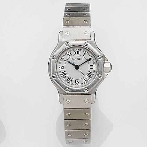 Cartier. A lady's stainless steel automatic bracelet watchSantos Ronde, Case No.090793103, Circa 1990