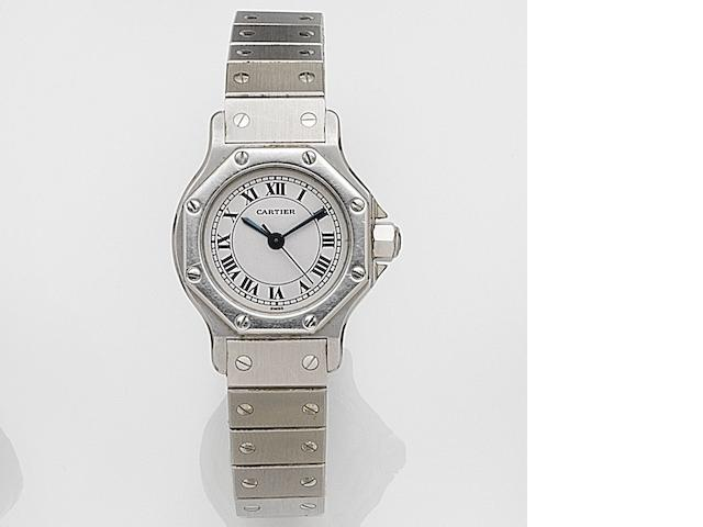 Cartier. A lady's stainless steel automatic bracelet watch Santos Ronde, Case No.090793103, Circa 1990