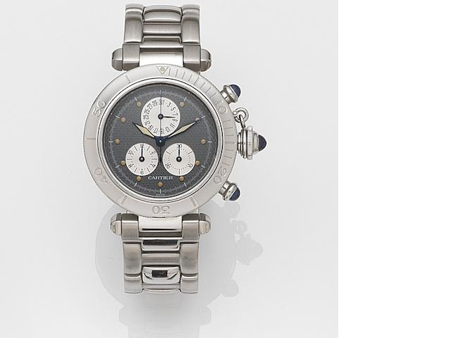Cartier. A stainless steel quartz calendar chronograph bracelet watch Pasha, Ref:1352, Case No.CC405230, Movement No.9657018, Circa 1990