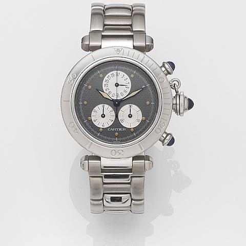 Cartier. A stainless steel quartz calendar chronograph bracelet watch Pasha, Ref:1352, Case No.CC405230, Movement No.9657018, Circa 1990
