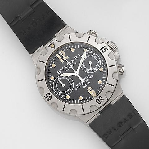 Bulgari. A stainless steel automatic chronograph wristwatchDiagono Professional Scuba Chronometer, Ref:SCB38S, Case No.BO 4743, Circa 2000