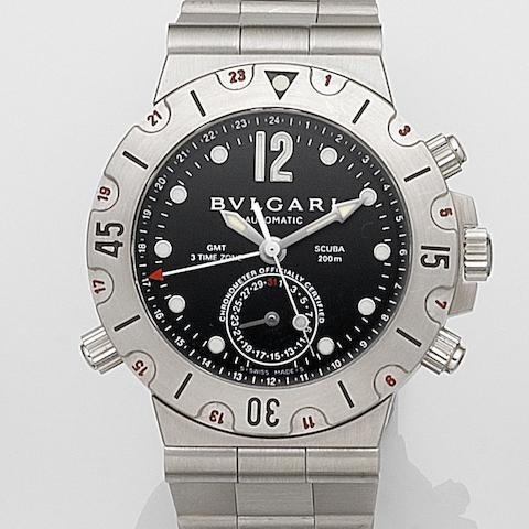 Bulgari. A stainless steel automatic triple time zone calendar bracelet watchDiagono Scuba GMT, Ref:SD 38S GMT, Case No.L10400, Circa 2005