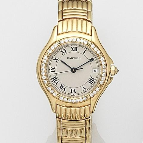 Cartier. A lady's 18ct gold and diamond set quartz calendar bracelet watchCougar, Ref:1170 1, Case No.C38170, Circa 2000