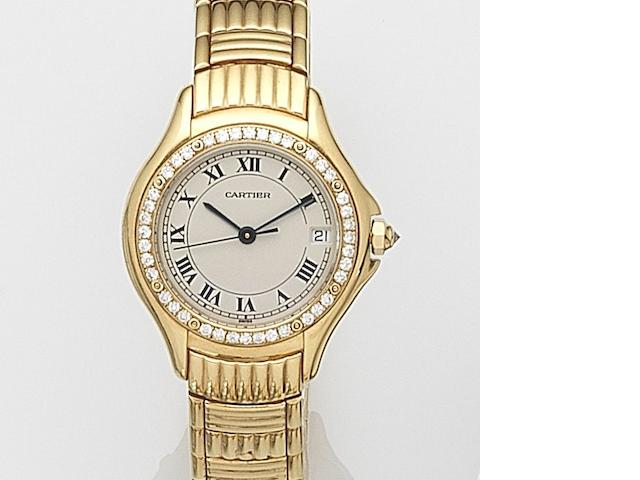 Cartier. A lady's 18ct gold and diamond set quartz calendar bracelet watch Cougar, Ref:1170 1, Case No.C38170, Circa 2000