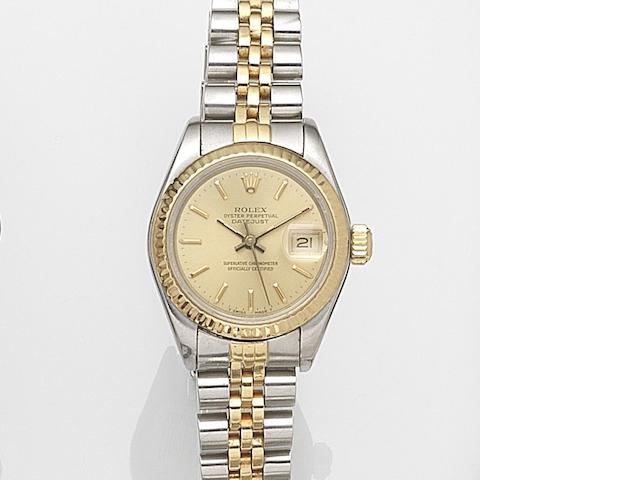 Rolex. A lady's stainless steel and gold automatic calendar bracelet watch Datejust, Ref:69173, Case No.R732161, Movement No.0975052, Circa 1987