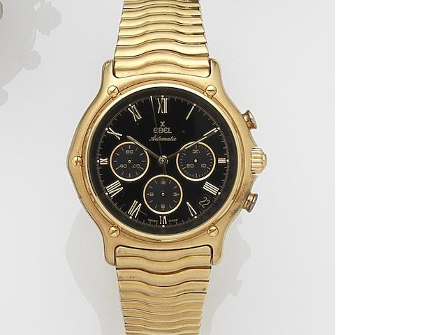 Ebel. An 18ct gold automatic calendar chronograph bracelet watch Ref:64100959, Case No.8134901, Circa 2000