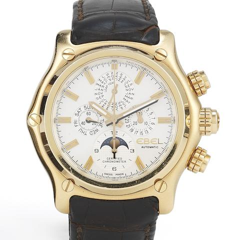 Ebel. An 18ct gold automatic perpetual calendar chronograph wristwatch with watch winder box 1911 BTR Perpetual Calendar Chronograph, Ref:E5288L70, Case No.A108651, No.8/20, Circa 2005