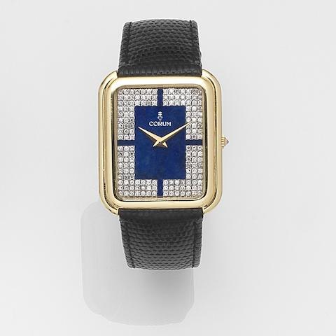 Corum. An 18ct gold and diamond set manual wind wristwatchCase No.179779, Movement No.144217, Circa 1975