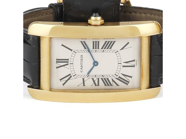Cartier. An 18ct gold manual wind wristwatchTank Américaine XL, Ref:1735 1, Case No.C55177, Movement No.9302980, Circa 2000