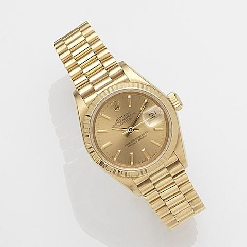 Rolex. A lady's 18ct gold automatic calendar bracelet watch Datejust, Ref:69178, Case No.895****, Movement No.355***, Circa 1985
