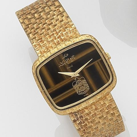Piaget. An 18ct gold manual wind bracelet watchRef:9751 A82, Case No.289827, Movement No.77844, Circa 1975