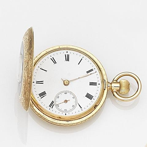 J.W. Benson. An 18ct gold keyless wind half hunter pocket watch Case No.79512, Movement No.1479512, Circa 1900