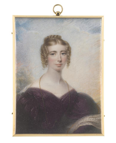 Thomas Hargreaves (British, 1775-1846) A Lady, called Anne Foster, wearing purple gown with bouffant sleeves, a white lace shawl draped about her her and a long gold chain suspended from her neck and tucked into her waist belt, the back of her blonde hair plaited and curled into a large knot, the front parted and curled in ringlets framing her face