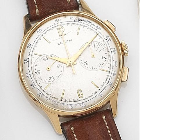 Zenith. An 18ct gold manual wind chronograph wristwatch Case No.830076, Circa 1950