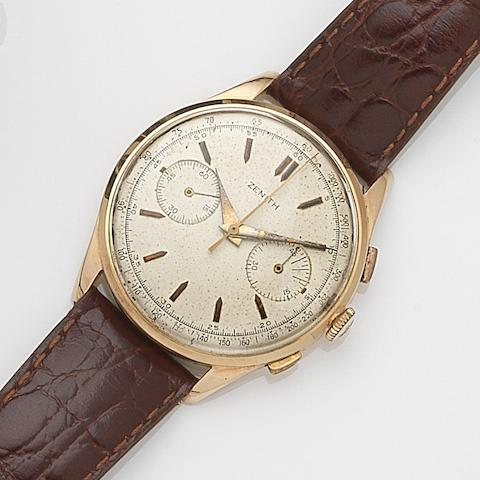 Zenith. An 18ct gold manual wind chronograph wristwatch Case No.605512, Circa 1950