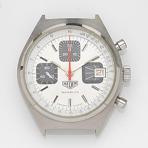 Heuer. A stainless steel manual wind calendar chronograph watch headIncabloc, Case No.97372, Circa 1970