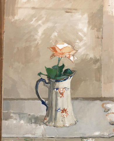 Euan Uglow (British, 1932-2000) Still Life with Rose and Pitcher 50.8 x 40.6 cm. (20 x 16 in.)