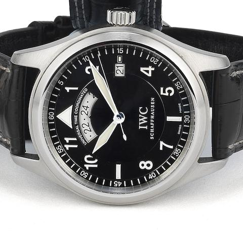 IWC. A stainless steel automatic calendar second time zone wristwatch with box and papers Spitfire UTC, Ref:325105, Case No.3115499, Sold 1st August 2006