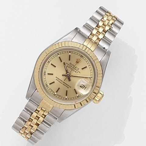 Rolex. A lady's stainless steel and gold automatic calendar bracelet watch Datejust, Ref:69173, Case No.L74****, Movement No.135****, Sold 20th August 1993