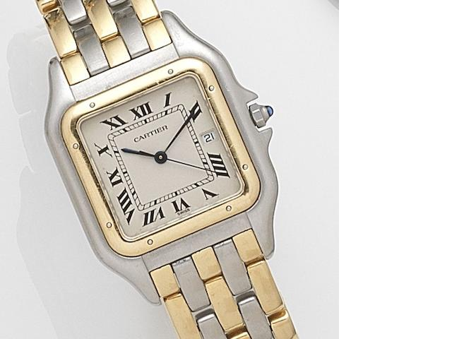 Cartier. A steel and gold quartz calendar bracelet watch Panthère, Ref:187957, Case No.00339, Circa 1990