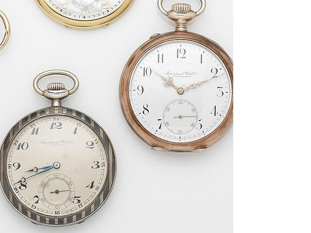 A lot of two IWC silver keyless wind open face pocket watches