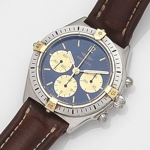 Breitling. A stainless steel and gold manual wind chronograph wristwatch Callisto, Ref:80520-1, Case No.13478, Circa 1990