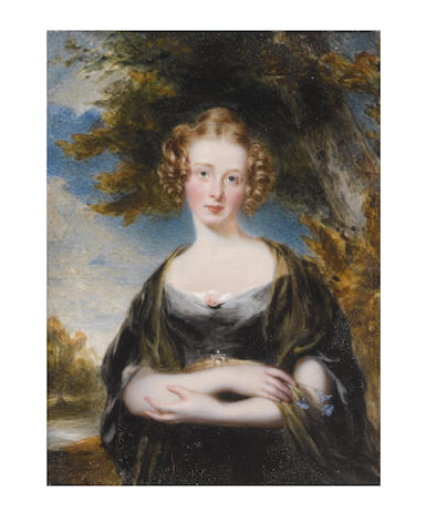 Sir William Charles Ross, RA (British, 1794-1860) A Lady, standing in a landscape and wearing black dress and white underslip, a pink rose at her corsage, jeweled belt, olive green shawl draped about her shoulders, her hair upswept into a knot, the front centrally parted and curled in ringlets framing her face, holding periwinkles in her right hand