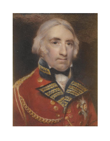 Robert William Satchwell (British, active 1793-1818) General Sir John Doyle, 1st Baronet GCB, KCH (1756–1834), wearing scarlet uniform with dark blue facings and standing collar, gold braiding and epaulette, star of the Order of the Bath, white frilled chemise and black stock