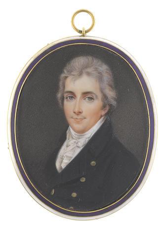 John Smart Junior (British, 1776-1809) The Hon. Peniston Lamb (1770-1805), wearing blue coat, white waistcoat, frilled chemise, stock and tied cravat, his hair lightly powdered