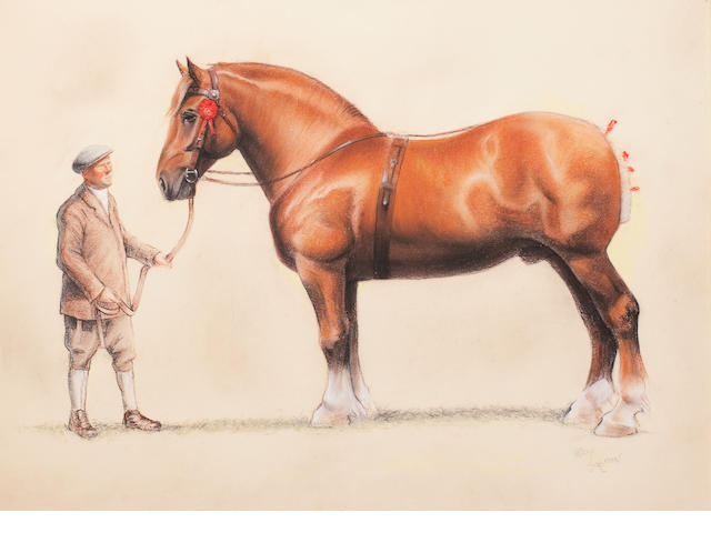 Cecil Charles Windsor Aldin, RBA (British, 1870-1935) A Suffolk Punch and his groom