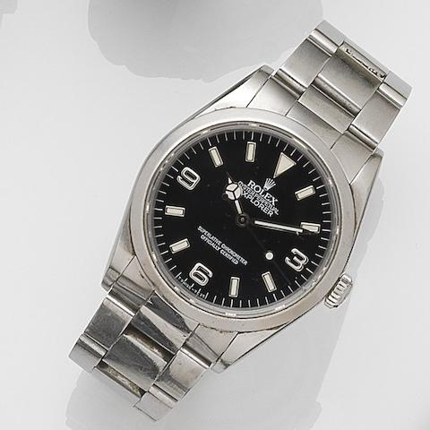Rolex. A stainless steel automatic centre seconds bracelet watchExplorer, Ref:14270, Case No.N32****, Movement No.453****, Circa 1991