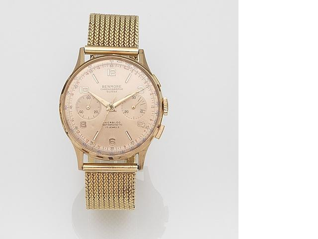 Benmore, Chronographe Suisse. An 18ct gold manual wind chronograph bracelet watch Case No.901-132, Circa 1950
