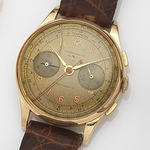 Chronographe Suisse. An 18ct gold manual wind chronograph wristwatchCirca 1950