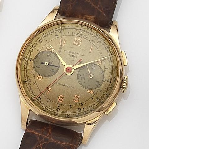 Chronographe Suisse. An 18ct gold manual wind chronograph wristwatch Circa 1950