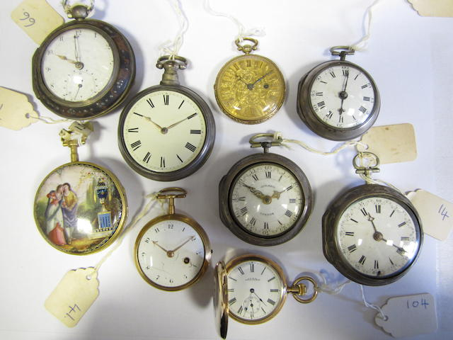 A lot of nine pocket watches