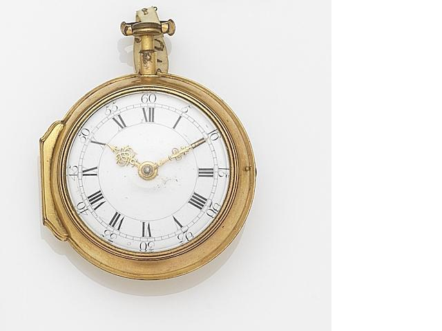 John Emery, London. A gilt metal key wind open face pocket watchMovement No.758, Circa 1760