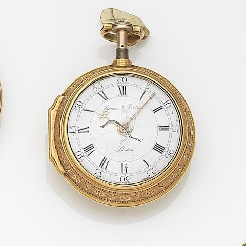 Spencer & Perkins, London. A continental gold key wind repeating pair case pocket watch Case and movement No.7738, Circa 1780