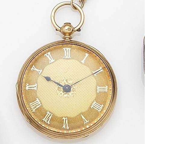 Unsigned. An 18ct gold key wind open face pocket watch Case and Movement No.40057, London Hallmark for 1873