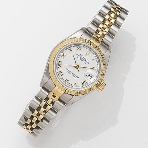 Rolex. A lady's stainless steel and gold automatic calendar bracelet watch Datejust, Ref:79173, Case No.P92****, Movement No.O47****, Sold 30th July 2001