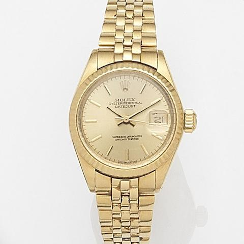 Rolex. A lady's 18ct gold automatic calendar bracelet watch Datejust, Ref:6917, Case No.370****, Movement No.485**, Circa 1973