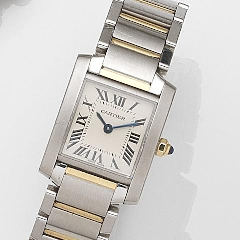 Cartier. A lady's stainless steel and gold quartz bracelet watch Tank Française, Ref:2384, Case No.536443MX, Sold 13th October 2007