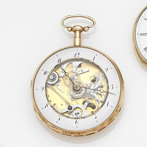 Swiss. A continental gold skeletonised key wind quarter repeating pocket watch Case No.9179P&SK8173, Circa 1820