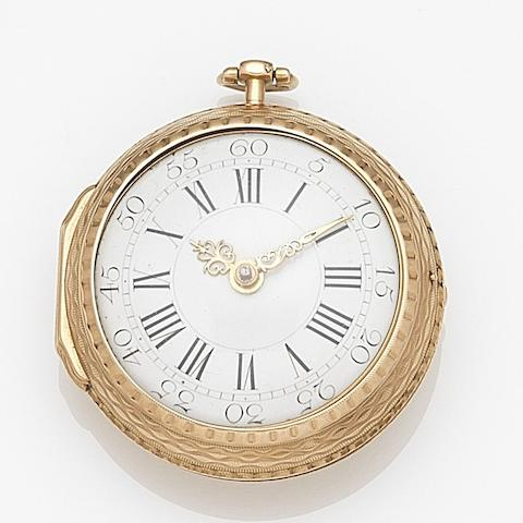 Cabrier, London. A gold key wind pair case pocket watch Circa 1750