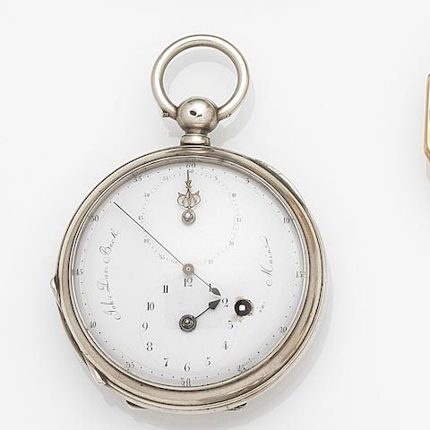 John David Beck, Mainz. A silver key wind regulator open face pocket watchCase No.1890, Circa 1800