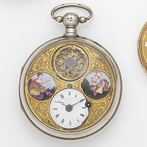 Unsigned. A silver key wind open face pocket watch with painted enamel dialCase No.20702, Circa 1800