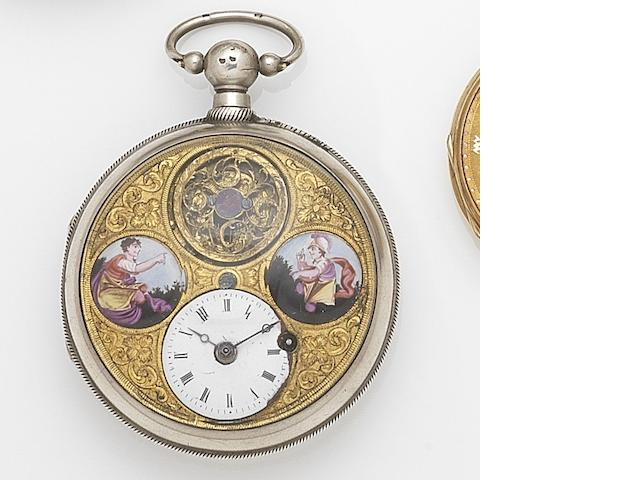 Unsigned. A silver key wind open face pocket watch with painted enamel dial Case No.20702, Circa 1800