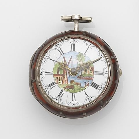 William Ketter, Amsterdam. A silver and painted horn key wind pair case pocket watch with painted enamel dial Case No.5940, London Hallmark for 1754