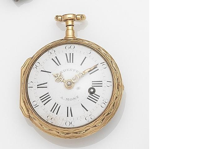 Vandesteen, Mons. A tri-colour gold key wind open face pocket watch Movement No.316, Circa 1800